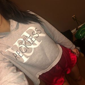Young and reckless crop top hoodie